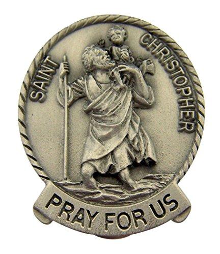 (Saint Christopher Pray for Us Pewter Visor Clip, 1 3/4 Inch)