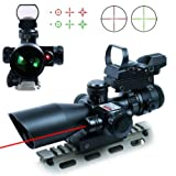 UUQ 2.5-10x40 Tactical Rifle Scope Dual Illuminated Mil-dot W/ Red Laser, Rail Mount and 4 Reticle Red/Green Dot Open Reflex Sight (12 Month Warranty)