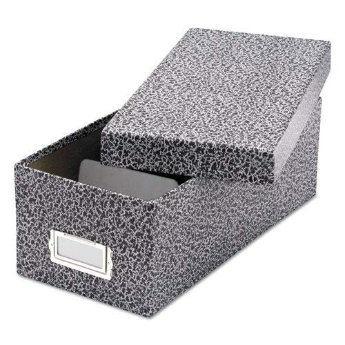 - Reinforced Board Card File, Lift-Off Cover, Holds 1,200 3 x 5 Cards, Black/White