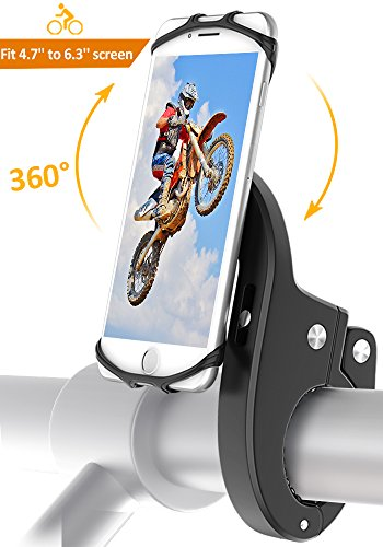 "Bike Mount, Bovon Universal Bicycle Phone Holder, Adjustable Silicone Bike Handlebar Rack for iPhone X 8 7 6 6S Plus, Samsung Galaxy S9 S8 Plus and Most 4.7""-6.3"" Smart phones (black)"