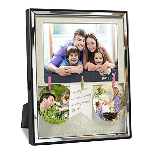 - Artsay 4x6 Family Picture Frame with Mat Clips Shadow Box Photo Frames Holder, Wall Hanging and Tabletop, Black, Glass Front