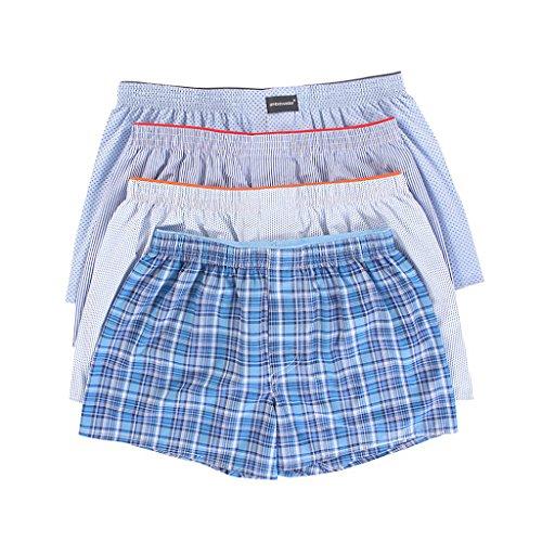 Cotton Woven Boxers (LAETAN Men's 4 Pack Soft Cotton Woven Boxer Short (Large, Blue/White))