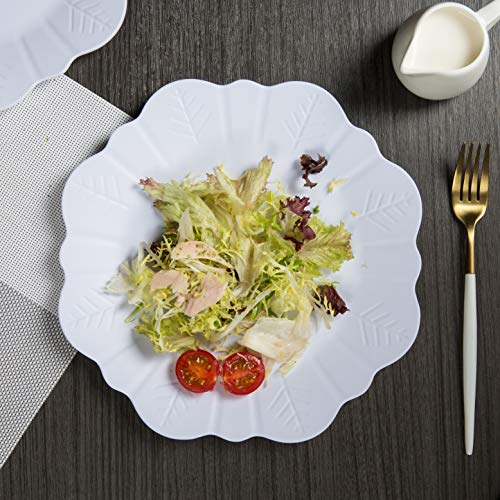 Melamine Plates Set for 4, 10.75 inch Dinner Plates Set for Indoor and Outdoor Use, White