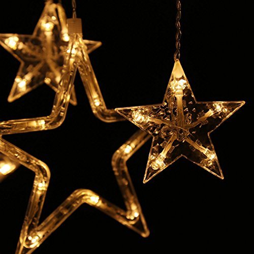 Homdox Lighting Show Home Outdoor Holiday Christmas Light LED Hanging Star  Curtain String Lights