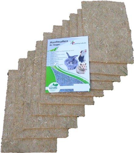 Nager-Teppich aus 100 % Hanf, 40 x 25 cm 5 mm dick, 10er Pack, (EUR 2,58/Stück), Nagermatte geeignet als Käfig Bodenbedeckung z.B. für Kaninchen, Meerschweinchen, Hamster, Degus, Ratten und andere Nagetiere.