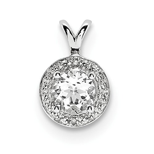 Sterling Silver Diamond & White Simulated Topaz Pendant (10mm x 14mm)