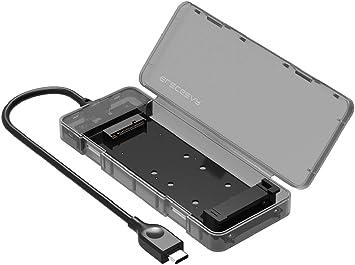 M.2 SSD Caja de Carcasa, 10Gbps USB 3.1 Gen2 Disco Duro Adapter, M2 NGFF SATA SSD, Case Estuche Caddy Adaptador para B Key 2230/2242/2260/2280 Disk Drive, UASP, Tool-Free, USB Type C Cable: