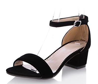 3411ef3e31d Aisun Women s Simple Comfy Open Toe Covered Heels Ankle Wrap Buckle Strap  Dress Block Mid Heels