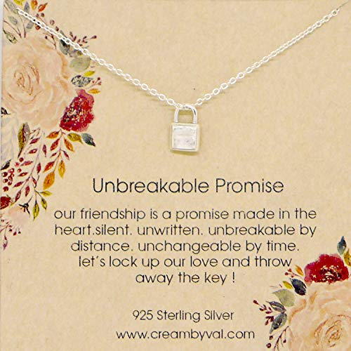 Unbreakable Promise Sterling Silver Lock Necklace - 17'' -