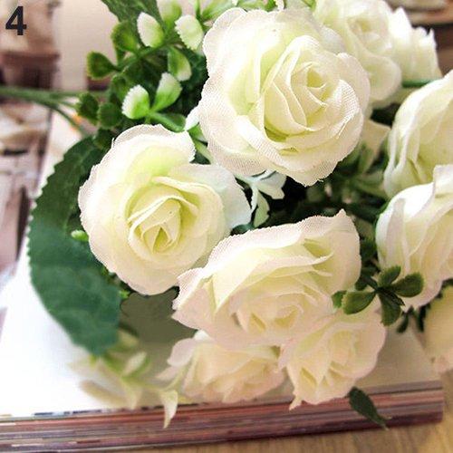litymitzromq Artificial Flowers Fake Plants, 1 Bouquet 15 Pcs Artificial Rose Faux Silk Flower Party Xmas Wedding Decor Faux Fake Flowers Floral Arrangement