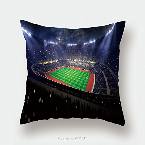 Custom Satin Pillowcase Protector Soccer Stadium In Night Blue Toning 300381305 Pillow Case Covers Decorative by chaoran