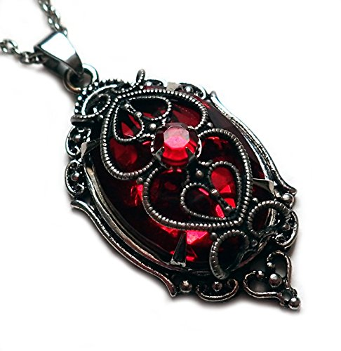 (Moon Maiden Jewelry Silver Filigree Caged Rhinestone Pendant: Ruby Red)