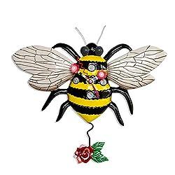 Allen Designs Buzz Whimsical Bee Pendulum Wall Clock