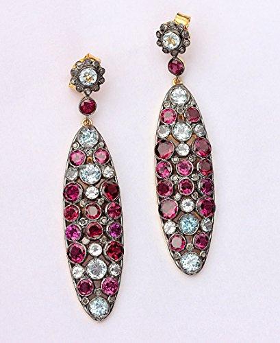 Natural Diamond Pave Gemstone Designer Dangle Earrings Aquamarine Rhodolite 925 Sterling Silver Jewelry