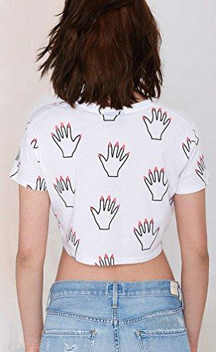 Baymate Mujer Palma Patrón Impresión Camiseta Manga Corta Moda Crop Tops Cuello Redondo Blanco