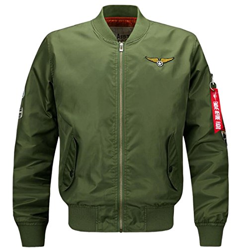 Jacket amp;W Army Bomber Jacket M Round amp;S Coats Green Men's Outdoor Flight wFR5qB1
