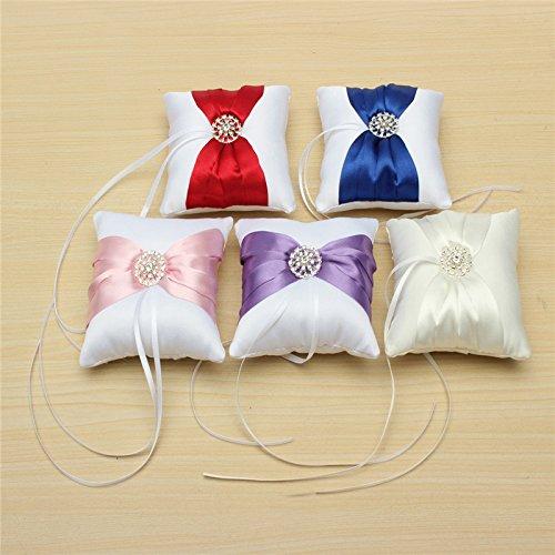 Worldoor® Best Promotion Beautiful White Satin Bowknot Diamante Romantic Wedding Ring Pillow Wedding Ring Pillow Cushion