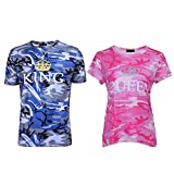 Bangerdei King and Queen Couples T-Shirts Anniversary Newlywed Matching Set Tops Valentines Gifts Camouflage Women Queen L + Men King M