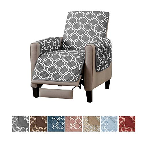 Home Fashion Designs Adalyn Collection Deluxe Reversible Quilted Furniture Protector. Beautiful Print on One Side/Solid Color on The Other for Two Fresh Looks Brand. (Recliner, Charcoal)