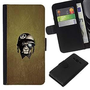 EJOY---La carpeta del tirón la caja de cuero de alta calidad de la PU Caso protector / Samsung Galaxy A3 / --Paz Guerra Guerrero veterano