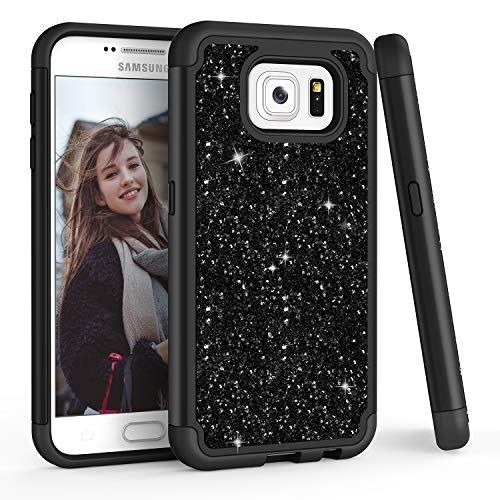 TILL for Galaxy S6 Case, TILL Luxury [Sparkle Sequins] Bling Shiny Color Glitter Girls Defender Dual Layer TPU Soft Inner Hard PC Protective Cute Case Cover Shell for Galaxy S6 S VI G9200 GS6 [Black]