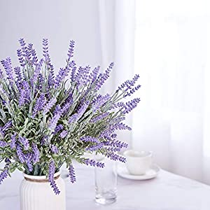 TEMCHY Artificial Lavender Plant with Silk Flowers Bouquet for Wedding Decor and Table Centerpieces, Indoor Outdoor Decoration - 8 Piece Bundle 3