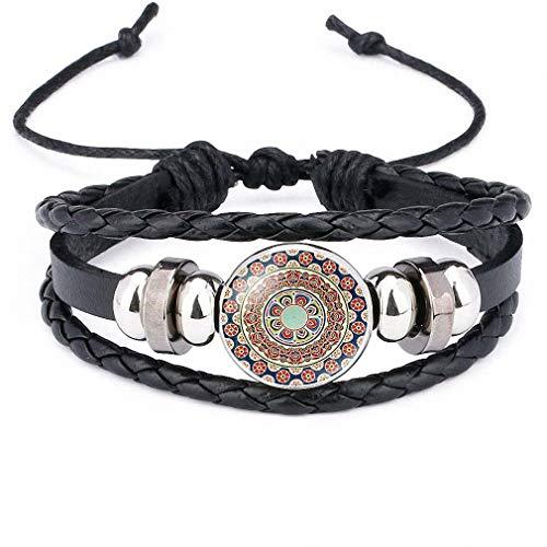 Womens Mandala Geometry Amulet Glass Cabochon Leather Bracelets & Bangles Yoga Zen Buddhism Religious Jewelry for Men Women 12010312 (Jewelry Leather Wholesale)