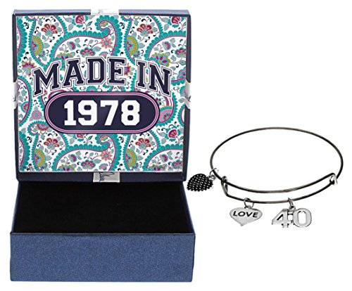 40th Birthday Gifts for Her Made 1978 Charm Bracelet Jewelry Box