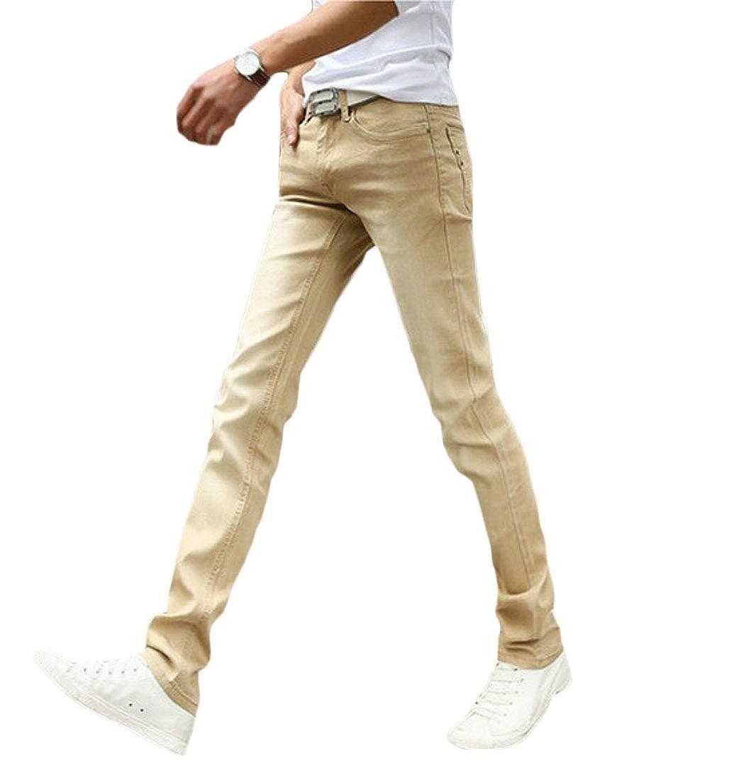 BYWX Men Washed Straight Leg Stretchy Stylish Jeans Denim Pants