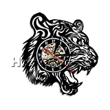 Tiger Vinyl Record Wall Clock Housewarming Gift for Kids Tiger Head Wall Clock Art Decor Wild Animal ungle Africa Ethnic Decor Art (Without LED)