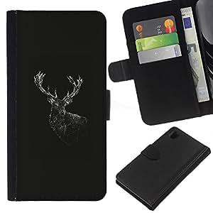 // PHONE CASE GIFT // Moda Estuche Funda de Cuero Billetera Tarjeta de crédito dinero bolsa Cubierta de proteccion Caso Sony Xperia Z1 L39 / Geometry Deer /