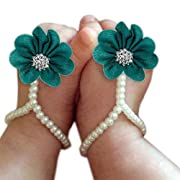 DZT1968 Baby Girl Pearl Chiffon Foot Flower Shoes Barefoot Sandals (Blue)