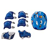 Dovewill 7 Pieces Blue Sports Safety Protective Gear Set for Kids - Helmet Elbow Pads Knee Pads Wrist Guard for Scooter Skateboard Skating Blading Cycling Riding