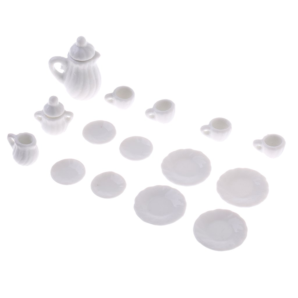 1//12 Scale Miniature 15 Pieces White Ceramic Chinese Tea Coffee Set Tableware Furniture for Dolls House Kitchen Table Decor