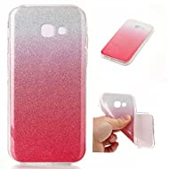 Cozy Hut Bling Bling Gliter Sparkle Coque Samsung Galaxy A3 2017 Paillette [ Ultra Mince ] ,Housse Etui Premium Transparent TPU Silicone Etui Coque de Protection en TPU avec Absorption de Choc Bumper et Anti-Scratch Hull Couverture Samsung Galaxy A3 2017 Soft TPU Housse Coque étui creux Slim Case Cover Cuir Etui Housse de Protection Coque Étui pour Samsung Galaxy A3 2017 - rouge Blanc