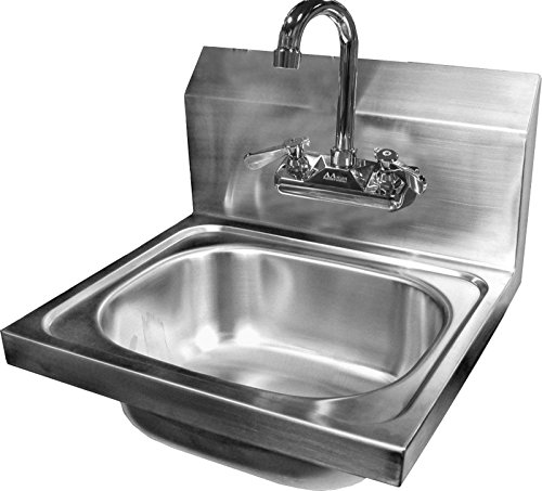 - ACE Ultra Space Saver Wall Mount Stainless Steel Hand Sink with No Lead Faucet and Strainer, 12-1/4 by 12-Inch