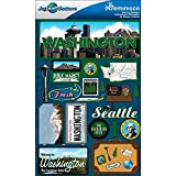 Reminisce Jet Setters Dimensional Stickers-Washington