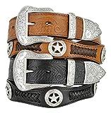 Mens Western Ranger Star Badge Concho Braided Genuine Leather Cowboy Belt