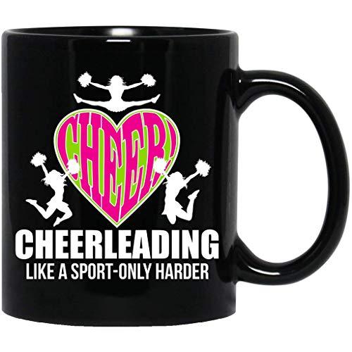 Cheerleader,Cheerleading,It's Like Sport Only Harder,Coach,Let's Go,Girls Gift Black Mug -