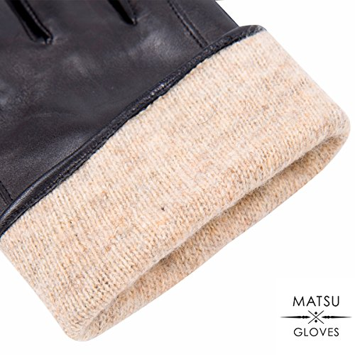 MATSU Fashion Women Winter Warm Leather Gloves 5 Colors M9213 (M, Brown (Long Fleece or Cashmere lining)) by Matsu Gloves (Image #6)