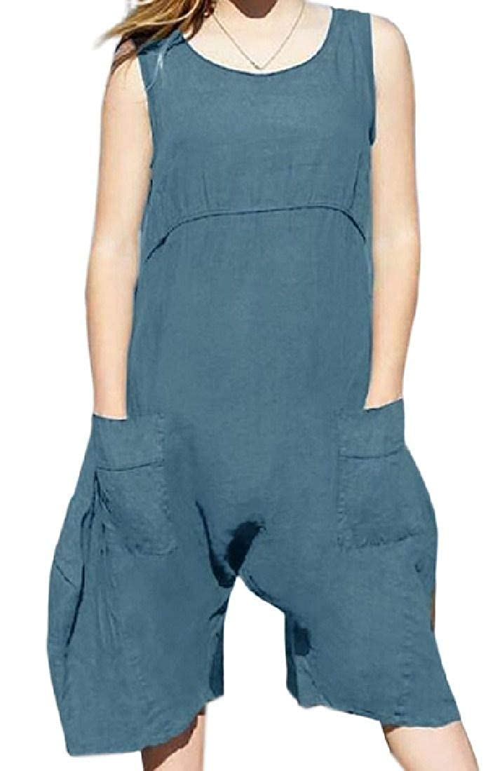 KLJR Women Sleeveless Basic Wide Leg Baggy Pockets Linen Short Jumpsuits