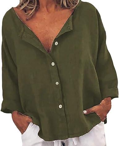 Qirans - Camiseta de manga larga para mujer, holgada, casual, de algodón y lino, con botones Verde verde XL: Amazon.es: Ropa y accesorios