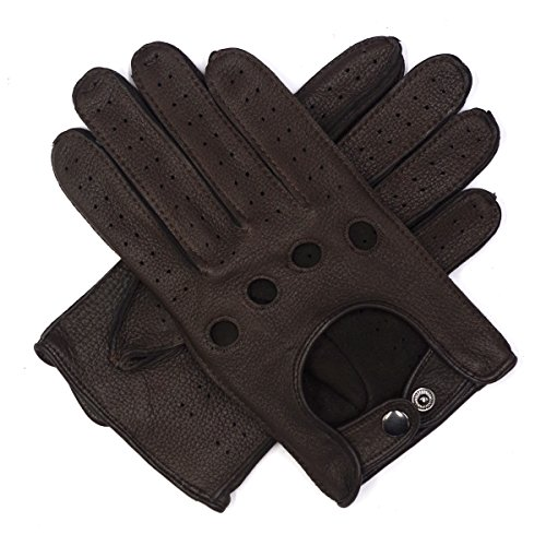 - Harssidanzar Mens Leather Driving Gloves Deerskin Unlined, Brown, L