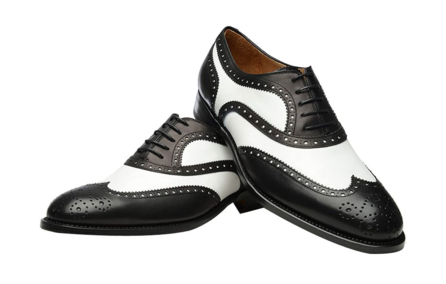 1920s Fashion for Men ROYAL WIND Geninue Leather Spectator Shoes Mens Black White Lace up Wing Tip Perforated Dress Shoes $79.99 AT vintagedancer.com