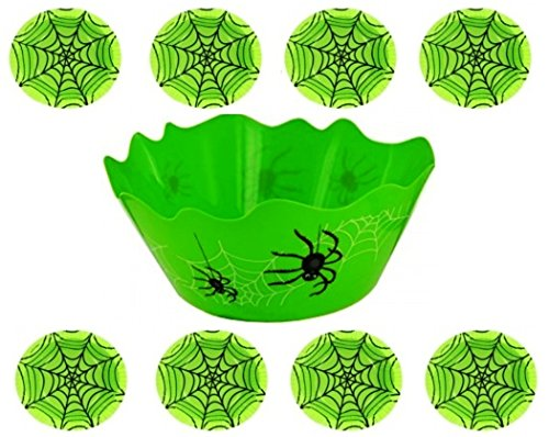 Halloween Spiderweb Candy Paper Bowl (8-Pcs) With 1-Piece Large Plastic Spiders Bowl - Perfect For Halloween Party Servings