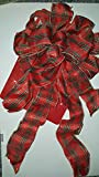 12 inch Red Tartan Plaid wired 10 loop bow with Two 12 inch and two 24 inch tails for wreath or tree topper