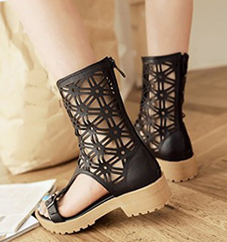 Casual Sandals Womens Toe Aisun Black Out Calf Breathable Shoes Heels Hollow Gladiator Open Low Mid UFRxZq5wR