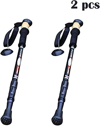 Andyshi EVA Handle Ultra Light 7075 Aluminium Alloy Collapsible Anti Shock Hiking Walking Trekking Poles Multifunctional Walking Stick 2 Pieces