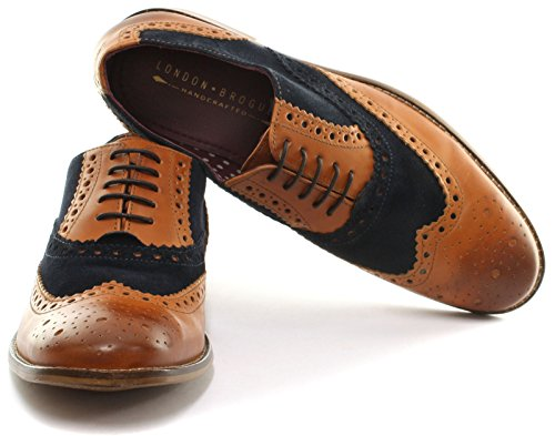 London Brogues Gatsby Tan/Navy Leather Mens Brogue Shoes, Size 15
