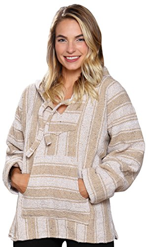 El Paso Designs (TM Classic Mexican Baja Hoodie Pullover Poncho (X-Large, Beige)